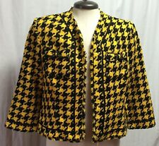 Houndstooth Womens Blazer TRUE MEANING Yellow Woven Crocheted Fringe Jacket 1179