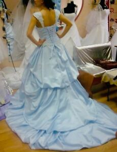 Details About New Beautiful Blue Bridal Gown Princess Long Train Wedding Dress