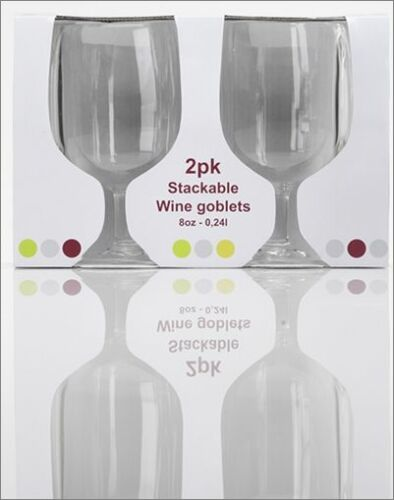 Flamefield Pack of 2 acrylic camping caravan stackable 8oz wine glasses glass