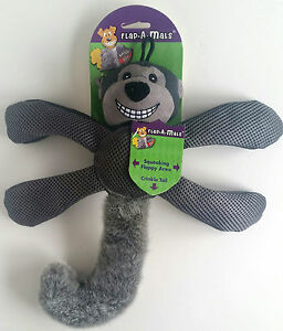 Details about Knight Pet Flap A Mals Gray Monkey Squeaking Flappy Arms Crinkle Tail