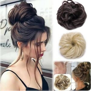 Women Curly Hair Piece Scrunchie Hair Bobble Blonde Black Messy Fake ... 83f910f16be
