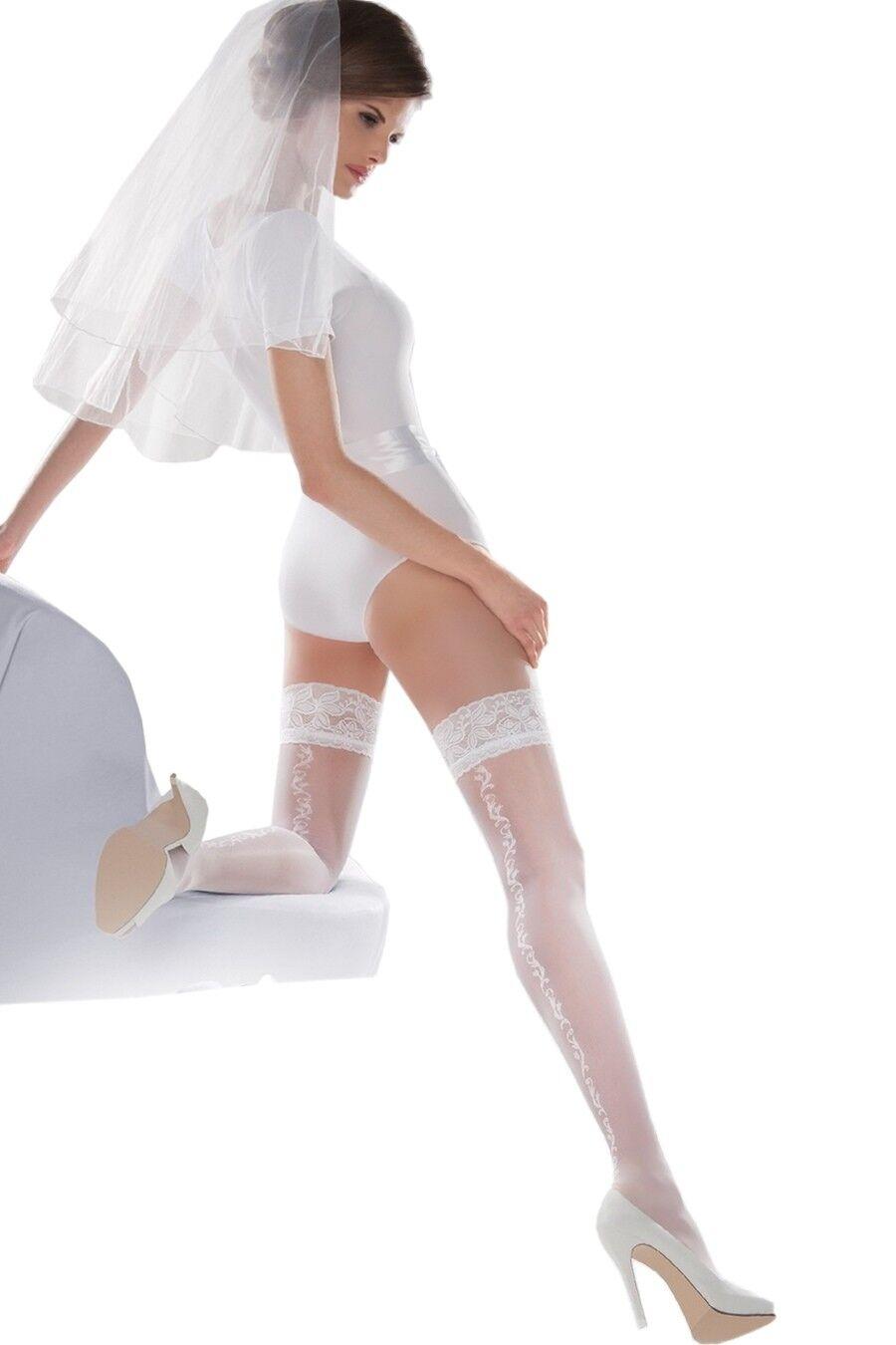 Gabriella - Bas blanc mariage autofixant jarretière dentelle 20 den ... 193c87aa937