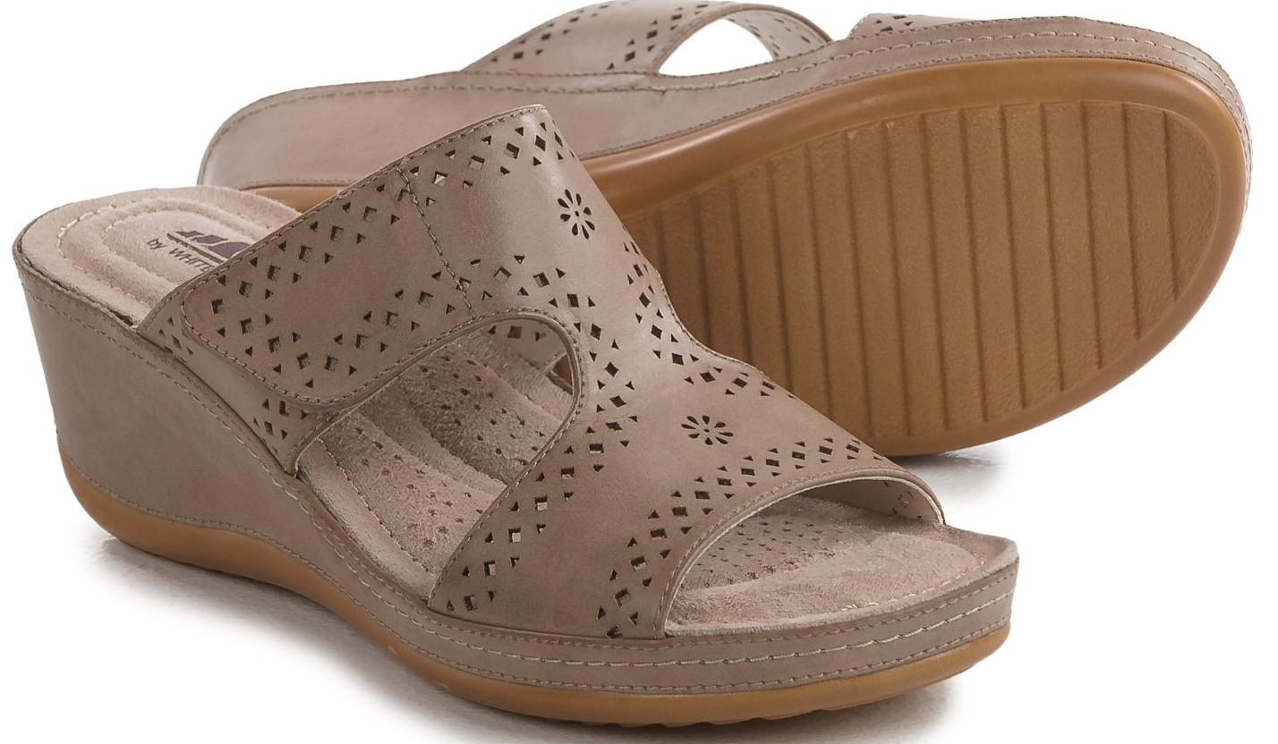 NEW CLIFFS BY WHITE MOUNTAIN FELINA SLIDE SANDALS WOMENS 10 STONE FREE SHIP