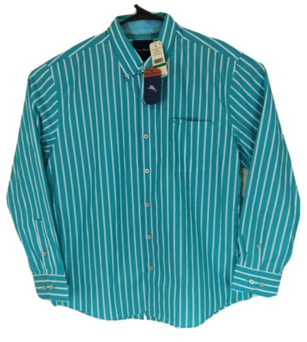 Tommy Bahama Men/'s Shirt Cabana Stripe Button Down Size L XL NWT Lagoon Water