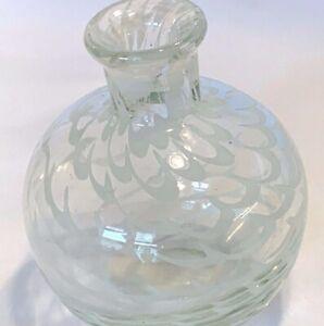 Vintage Hand Blown Art Glass Vase Clear & White Swirl