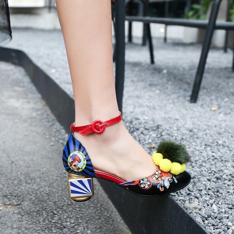 Women Ladies Fashion 3D Printed Pompom Ankle Strap Block Heel Court shoes MCKK