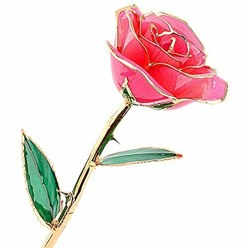 24 Carat Gold Dipped Pink Real Rose Flower Gifts For Women Best Gift Ebay