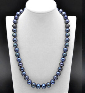 AAA-Perfect-10-11mm-Genuine-Black-Freshwater-Cultured-Pearl-Necklace-18-039-039