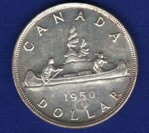 BU-80-Silver-1950-One-Dollar-Canada-1-Canadian-Coin-Voyageur-King-George-VI