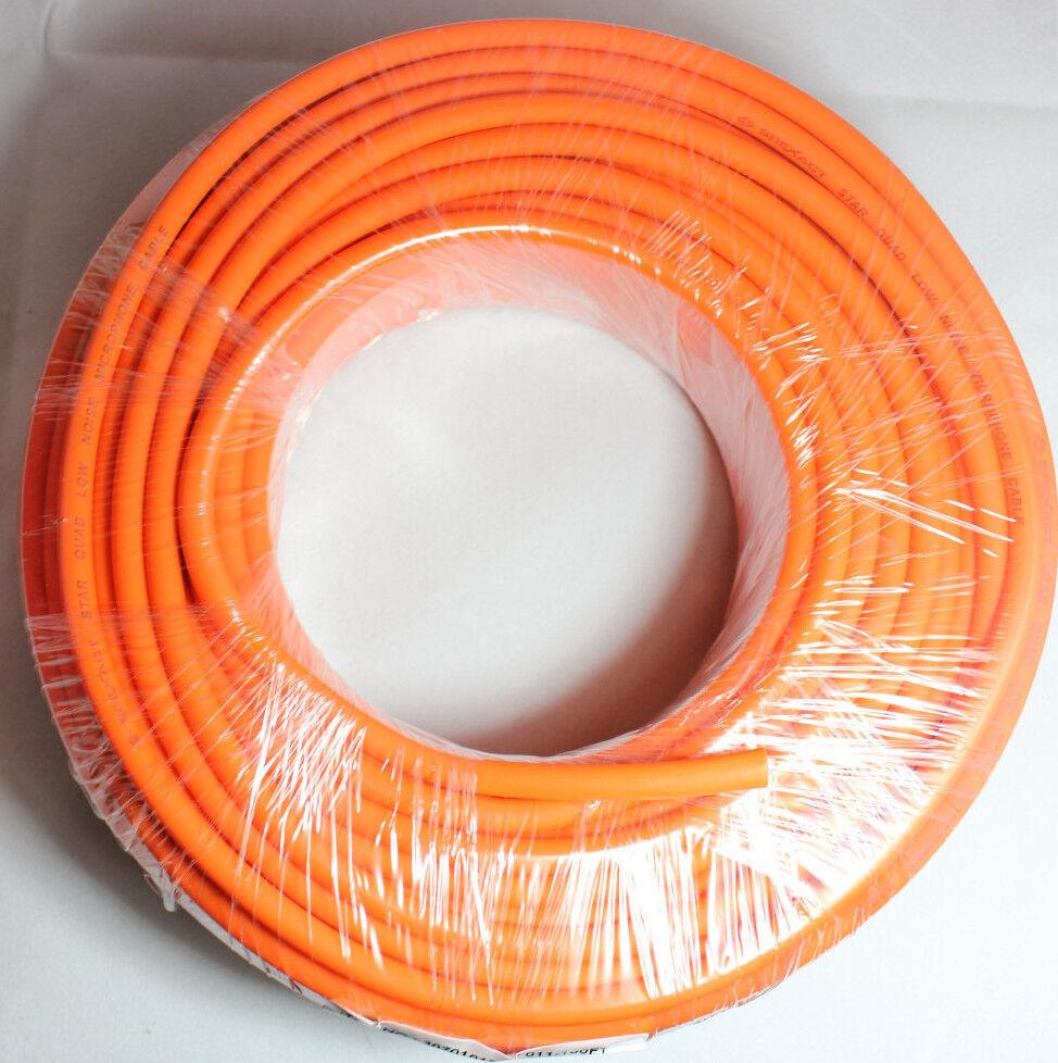 100ft Orange Star Quad Balanced microphone cable - bulk - no termination
