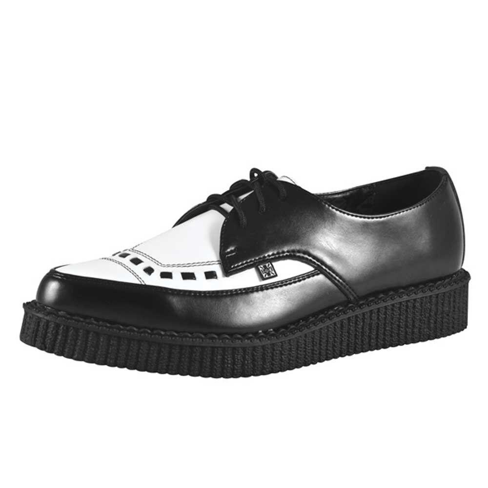 T.U.K. TUK zapatos en Punta con Cordones A8140 Negro De Cuero blancoo Creepers burdel