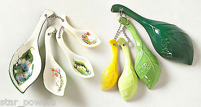 Anthropologie Tea Leaves Measuring Spoons Stoneware Dishwasher Safe Hostess Gift