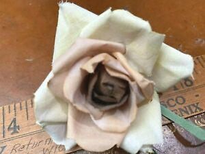 """Vintage Millinery 1940s Flower  Rose 4"""" Latte & Cream Cotton 1pc Made in Japan"""