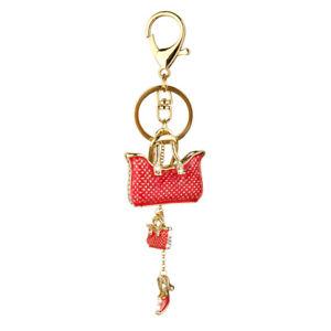 Hot-Pink-Bag-High-Heel-Crystal-Keyring-Charm-Pendant-Key-Ring-Chain-Keychain