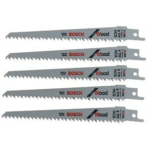 5-Bosch-S644D-Reciprocating-Sabre-Saw-Blades-6-034-150mm-for-WOOD-HCS-Extra-Sharp