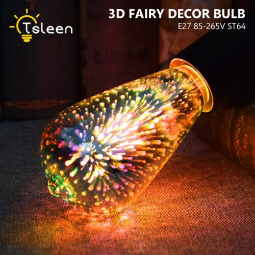 3D Fireworks Bulb G80//A60//ST64 E27 LED Retro Edison Glass Fairy Light Decor Lamp