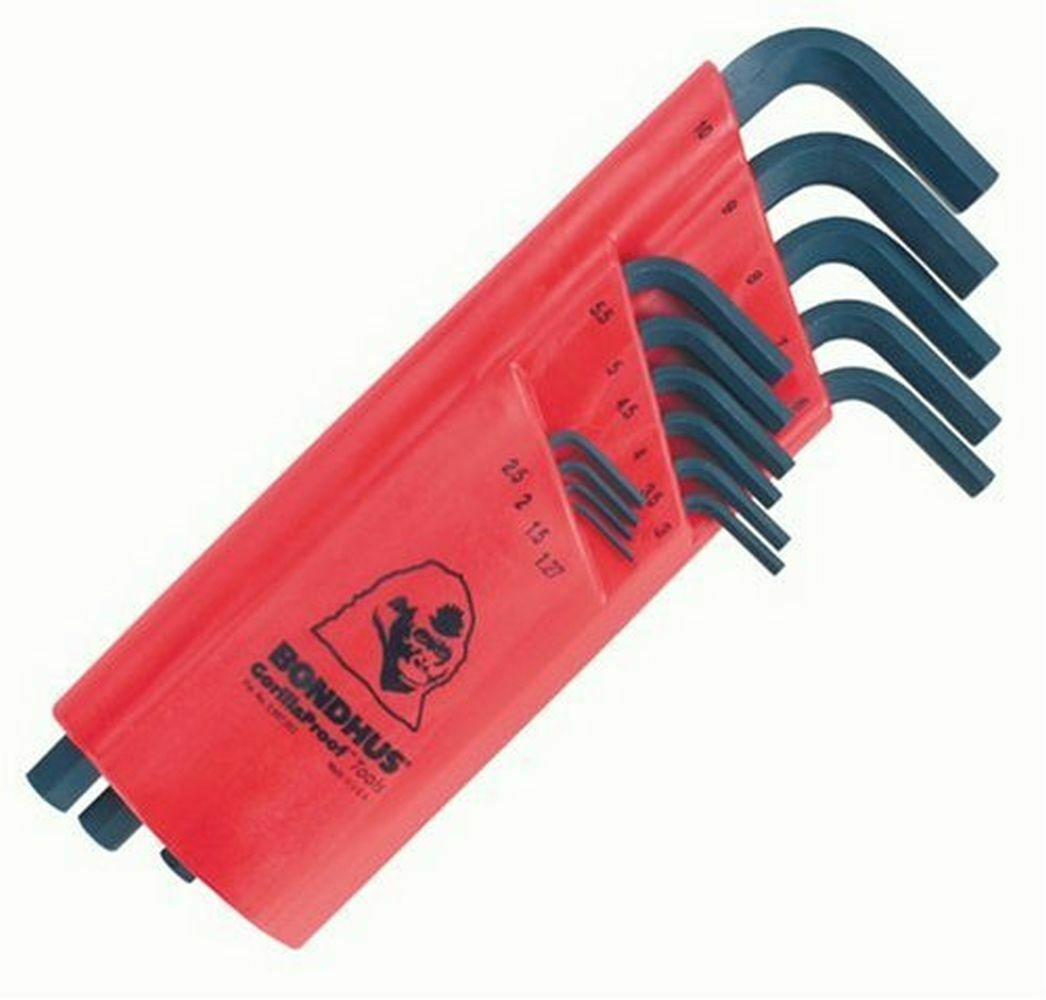 Bondhus 12195 Set of 15 Hex L-wrenches, Long Length, sizes 1.27-10mm. Available Now for 15.65