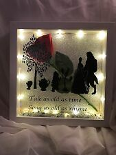 Beauty And the beast personalised Crystal Frame Box  led lights