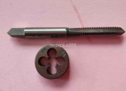 1pc HSS Machine 1//4-24 UNS Plug Tap and 1pc 1//4-24 UNS Die Threading Tool