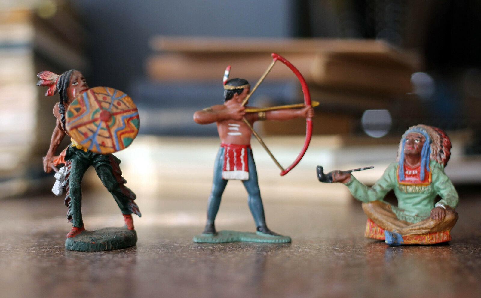 Antiguo Elastolin Indio Nativo Americano Soldado de Juguete Muchos Alemania