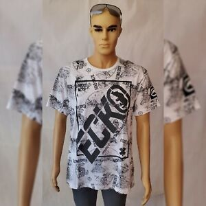 ECKO-UNLTD-TSHIRT-MEN-039-S-CREW-NECK-SHORT-SLEEVE-GRAPHIC-DESIGN-MAP-SIZE-L-WHITE