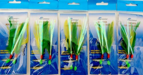 2-100 Packs 5//0 Rock Cod Feather Rigs Green//Yellow Rockfish Bait