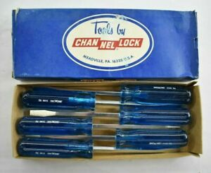 Channel-Lock-5166-SQ-Vintage-NOS-Screwdrivers-Lot-of-6-5-16-x-6-034-Blue-Handle