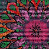 Hot Pink Flower 6 X 6 Loomed Beading Pattern By Karen Zumbrun