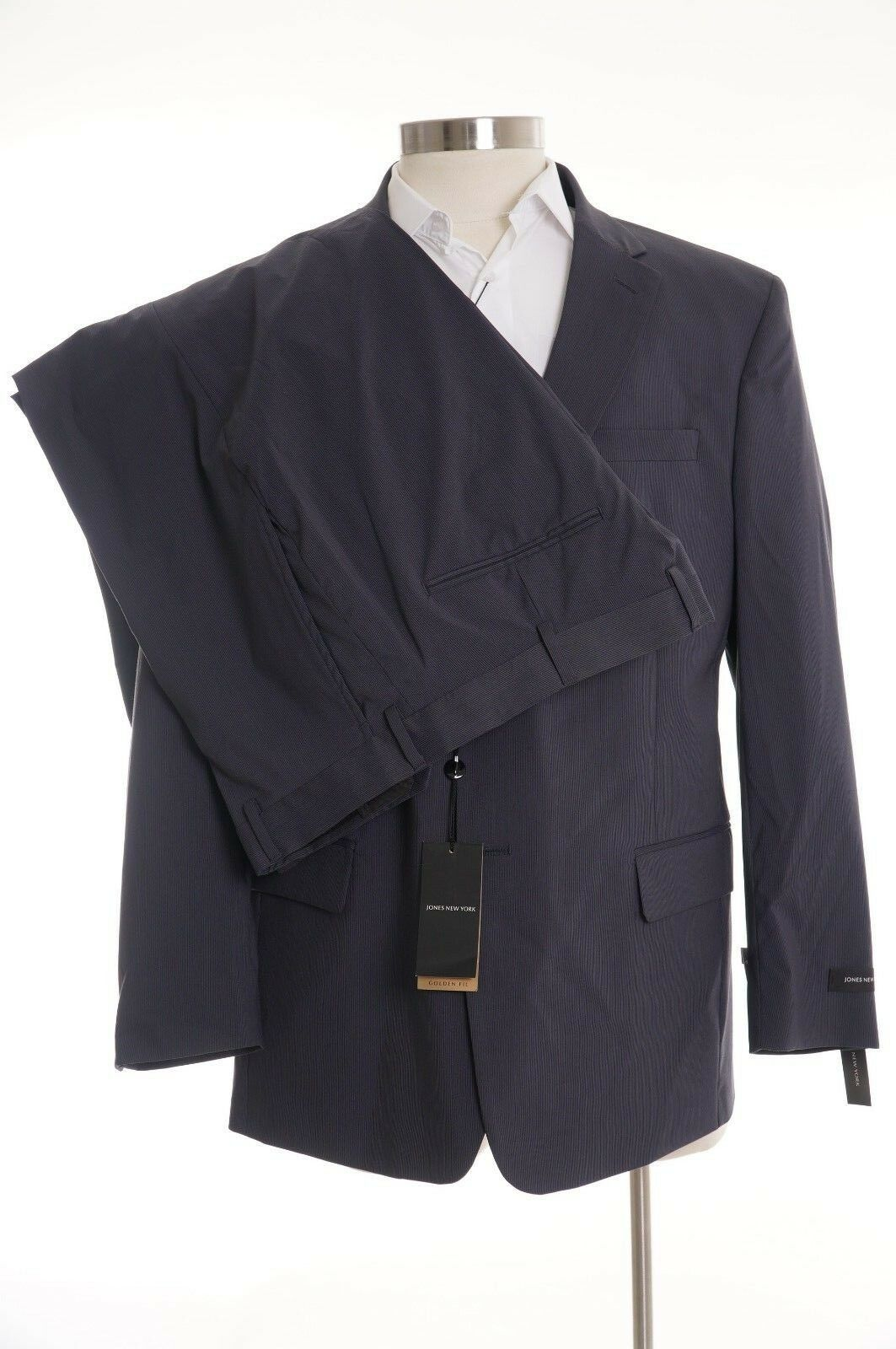 650 Jones New York Classic Fit Blau Tonal Striped 2 Button Suit 40L 33.5W