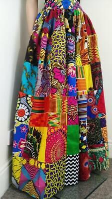 Patchwork Tessuto Stampato Africana Maxi/gonna Di Lunghezza Intera 100% Cotone Cera Fatto A Mano-mostra Il Titolo Originale Fornitura Sufficiente