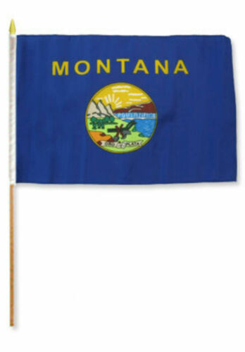 "12x18 12/""x18/"" Wholesale Lot of 3 State of Montana Stick Flag wood Staff"