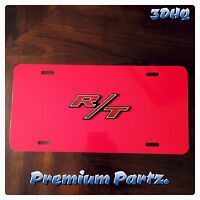 Dodge Hemi R/t 3d License Plate Red Red Aluminum Custom Ram Charger