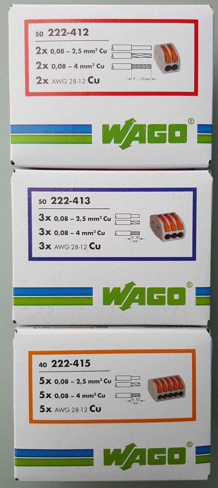 Wago Klemmen Set 2-3-5 pol 222(412-413-415) Verbindungsklemme Hebelklemme Klemme