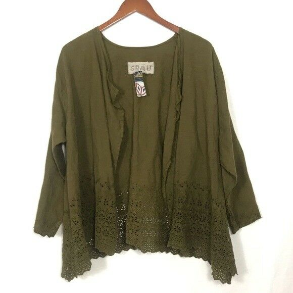 NEW GRAU Designs Recycled Reused Refurbish Olive Grün Over Top Cardigan Kimono