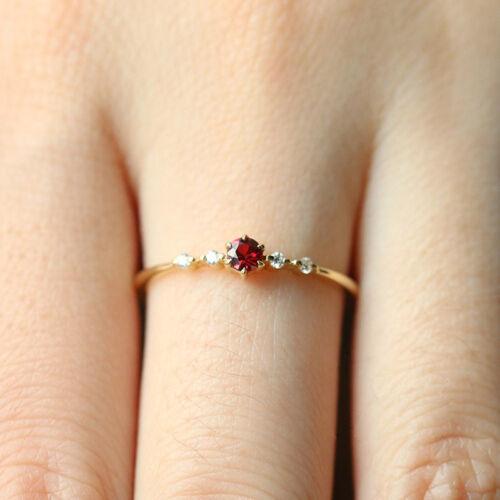Women Thin Band Rings Red Crystal Rhinestone Wedding Jewelry Size 6-10 LD