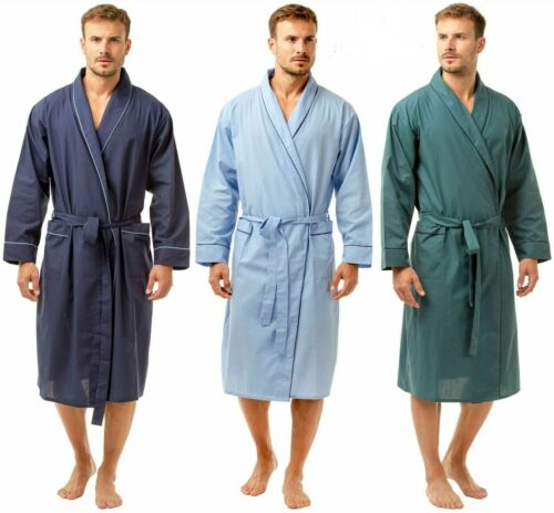5xl Sleep LOUNGE Mens Cotton Long Sleeve Dressing Gown Robe NAVY BLUE TEAL M