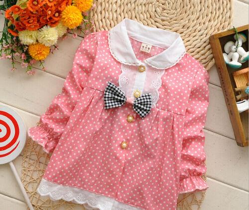 0-3T Newborn Baby Girls Fashion Dot Clothing 100/% Cotton Tops Infant Girl Shirt