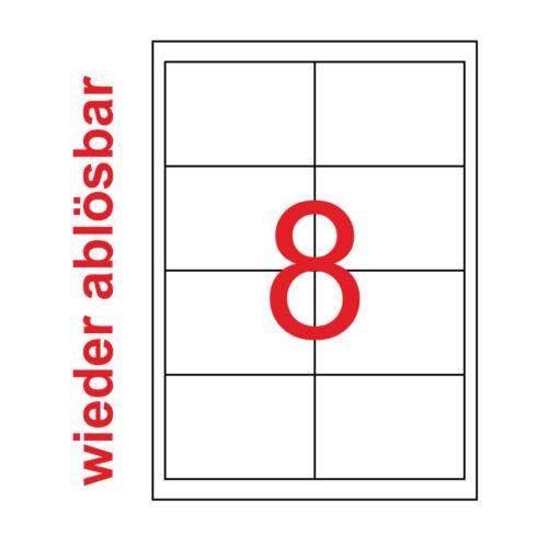 200 Etiketten 97x67,7mm wieder ablösbar non permanent Kores 97x67 25 Blatt A4