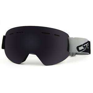 7a54242427b Image is loading Ski-Snow-Goggles-Black-Smoken-Mirror-Antifog-Dual-