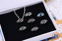 Katekyo Hitman Reborn Vongola 7 Ring Necklace Set Cosplay Free Shipping