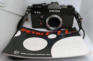 VINTAGE anni 1970 M42 Nero PETRI TTL 35mm Pellicola SLR Fotocamera Stills & Custodia & libretto