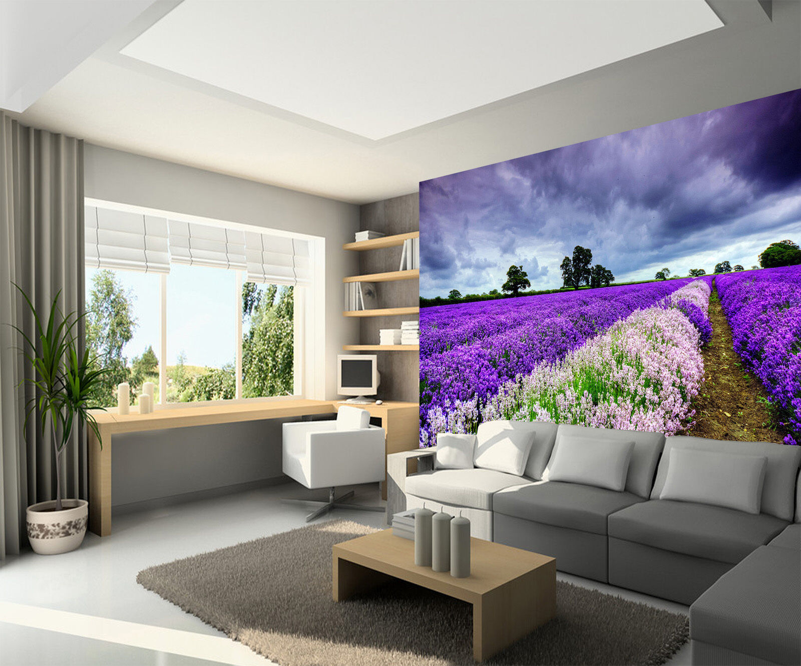 3D Flowers Field Dark Clouds Wall Paper Wall Print Decal Wall AJ WALLPAPER CA