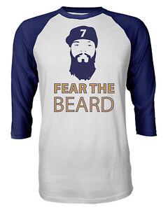 info for 68429 a4b32 Details about Milwaukee Brewers Eric Thames Fear The BEARD Mens Raglan  Quarter Sleeve T-Shirt