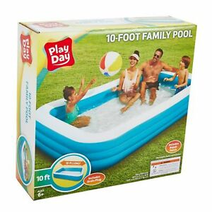 Play-Day-Deluxe-10-Foot-Inflatable-Family-Swimming-Pool-Outdoor-120-034-X-72-034-X-22-034