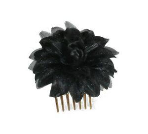 Modeste Peigne Fleur Noir En Tissu Et Tulle N°1. Coiffure Mariage