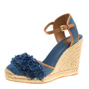 bc93a8b78 New $250 Tory Burch Shaw Blue Denim Royal Tan Espadrille Wedge ...