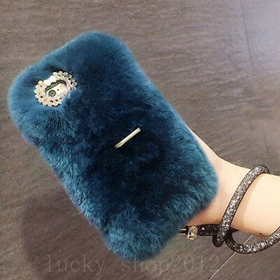 Luxury Bling Diamond Fluffy Fuzzy Rabbit Fur Ring Stand Phone Case Cover & Strap