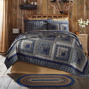 Columbus Queen Quilt Navy Blue Tan Primitive Log Cabin Pillow Rustic