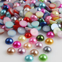 100 * 8/10mm Half Round Pearl Bead Flat Back Size Scrapbook for Craft Pick color