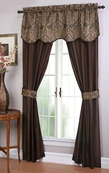 Chocolate Long Curtains Panels 5 Piece Window Set Curtain Living Room  Bedroom